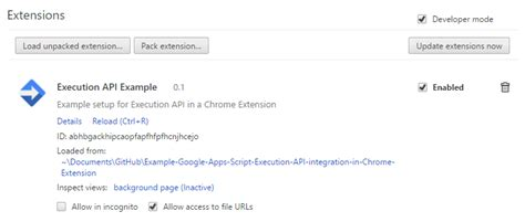 Using the Google Apps Script Execution API in Chrome