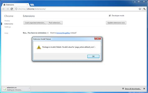 """google chrome - """"Extension Install Failure: Package is"""