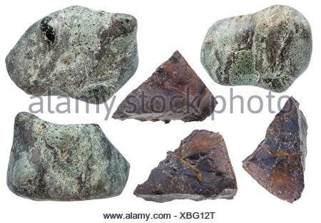 collection of various impactite mineral stones Stock Photo